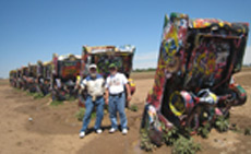 We prepare to leave our mark on the Cadillac Ranch in Amarillo, TX.