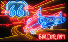 This fabulous Jerry McClanahan designed neon sign is mounted above the Gallup, NM Chamber of Commerce building.